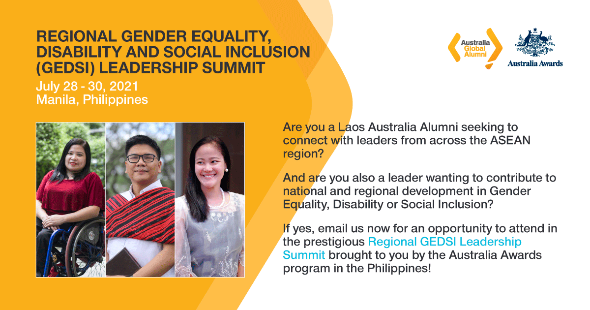 2021 Regional GEDSI Leadership Summit, brought to you by the Australia Awards program in the Philippines!